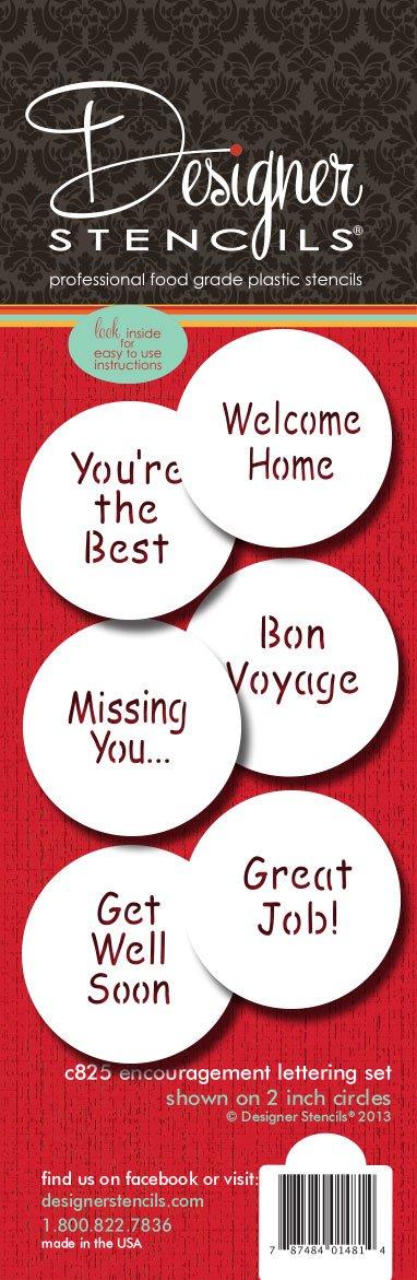 Designer Stencils C825 Encouragement Lettering Cookie Stencil Set, (YOU'RE THE BEST - WELCOME HOME - GREAT JOB - BON VOYAGE - MISSING YOU. - GET WELL SOON) Beige/semi-transparent