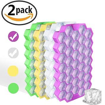 (Juego de 2) Cubetas de cubitos de hielo con tapa - Flexible Silicona 37