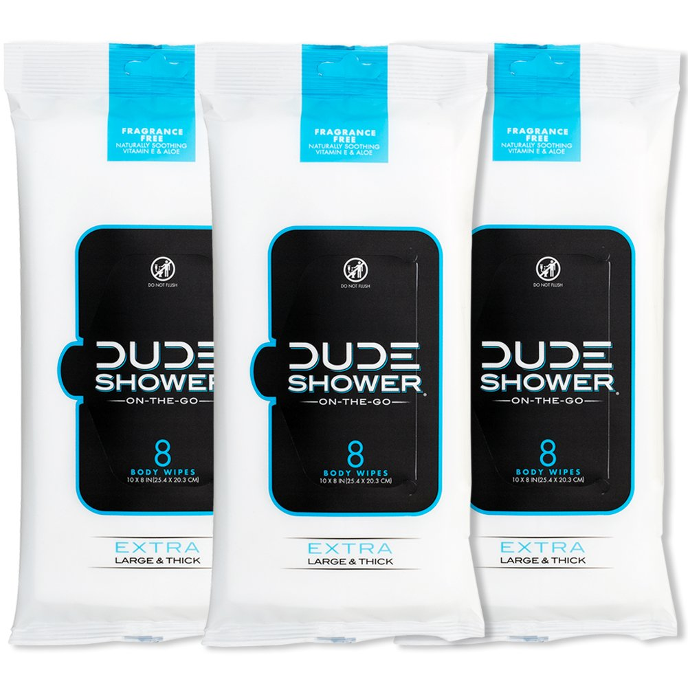 DUDE Shower Body Wipes (3 Packs, 8 Wipes Each) Unscented Naturally Soothing Aloe and Hypoallergenic, Portable Travel-Sized Individual Cleansing Cloths for Men by Dude Products