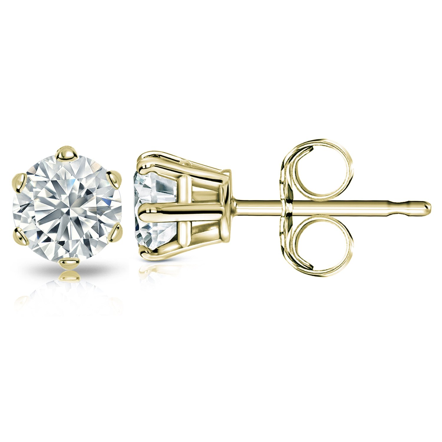 14k Yellow Gold Mens Round Diamond Simulant CZ Stud Earrings 6-Prong 1//2-2cttw,Excellent Quality