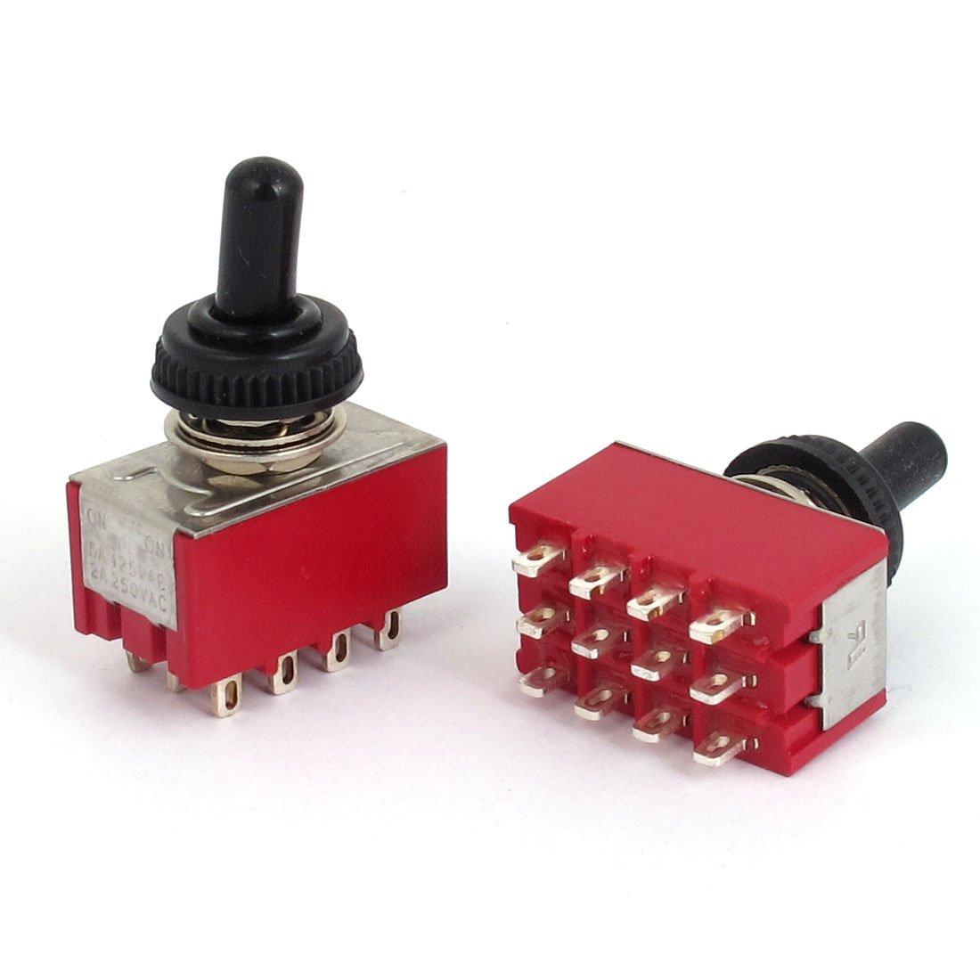 uxcell A15062500ux0242AC 250V 2A 125V 6A on/off/on 4pdt Interrupteur à bascule avec capuchon étanche, 1,3cm de large, 2,2cm de long (lot de 2) 3cm de large 2cm de long (lot de 2)