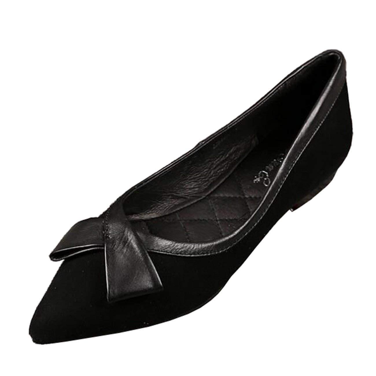 Fuxitoggo Damen-Spitzschuh Flache Slip-On Bowknot Ballerinas (Farbe   Schwarz Größe   5 UK)