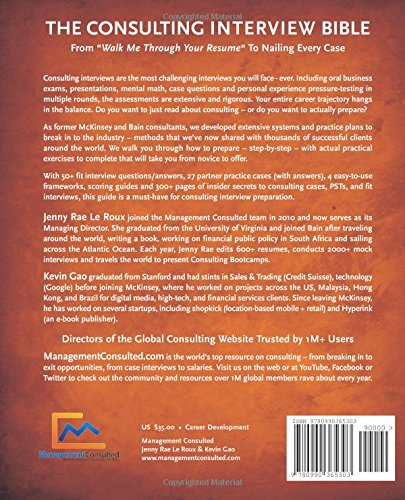 High Quality The Consulting Interview Bible (Volume 1): Jenny Rae Le Roux, Kevin Gao:  9780990365303: Amazon.com: Books