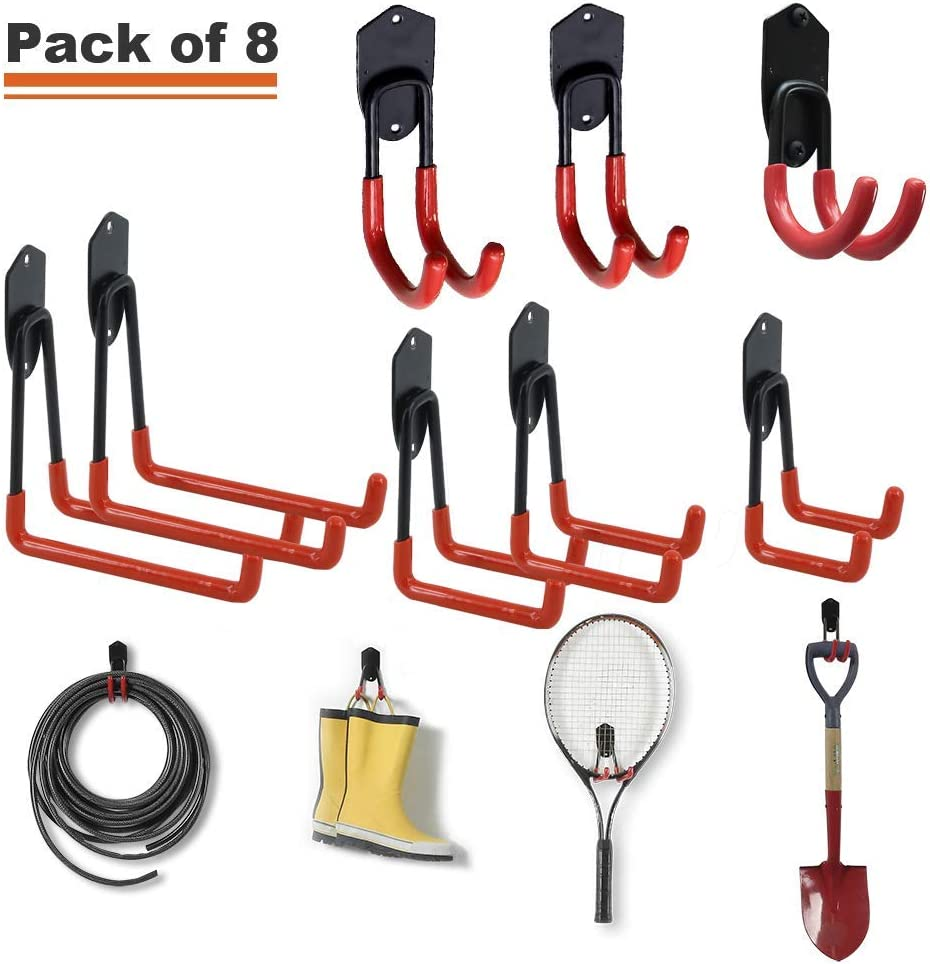 Wallmaster 8-Pack Steel Garage Hooks for Garage Storage Wall Mount Heavy Duty Wall Hook for Garden and Garage Tools Organization