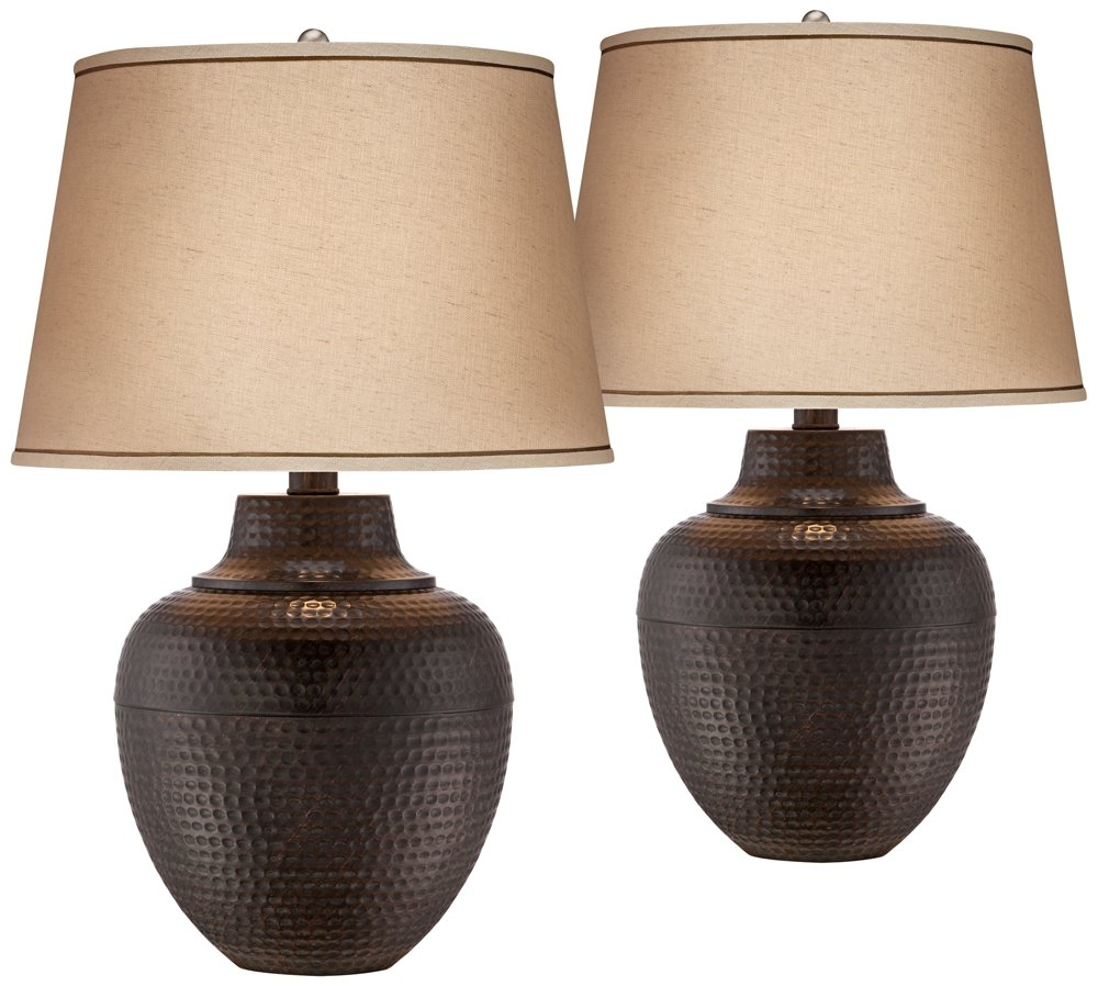 Brighton Hammered Pot Bronze Table Lamp Set of 2 by Barnes and Ivy