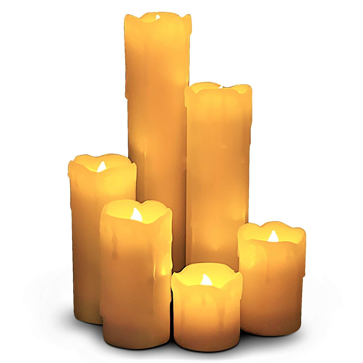 LED Lytes Flameless Candles with Timer, Slim Set of 6, 2 Inches Wide and 2-9 Tall, Ivory dripping Wax and Flickering Amber Yellow Flame Battery Operated Electric Candle