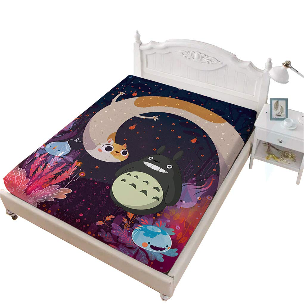 VITALE Bedding Fitted Sheet Queen Size,My Neighbor Totoro Cartoon Queen Size Sheet,Fairy Printed 1 Piece Queen Size Deep Pocket Fitted Sheet Girl's Bedding Decor