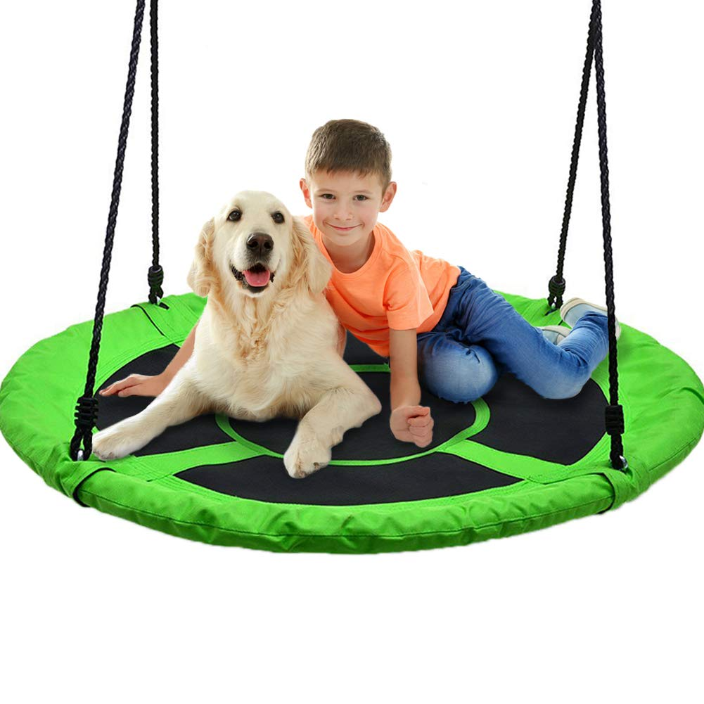 40'' Flying Saucer Tree Swing 700lb Weight Capacity - 900D Oxford,Safe & Durable Swing Seat Kids Indoor / Outdoor Round Mat Swing - Great for Tree, Swing Set, Backyard, Playground, Playroom (Green-1) by Redipo