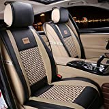 leather chair seat covers - FREESOO Car Seat Covers Full Set, PU Leather Car Seat Covers for 5 Seats Vehicle Suitable for Year Round Use(Black)