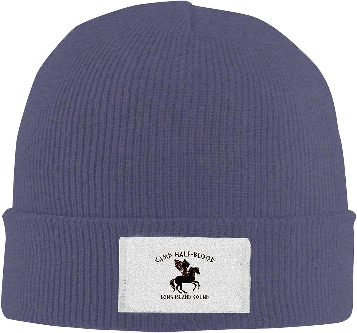 Dunpaiaa Skull Caps Camp Half Blood Winter Warm Knit Hats Stretchy Cuff Beanie Hat Black