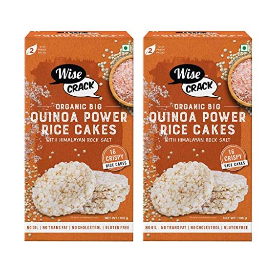 Wise Crack Organic Big Size Rice Cakes Quinoa Power Whole Grain Puffed Cracker, Crispy Healthy Snacks (105 gm Each) - Pack of 2