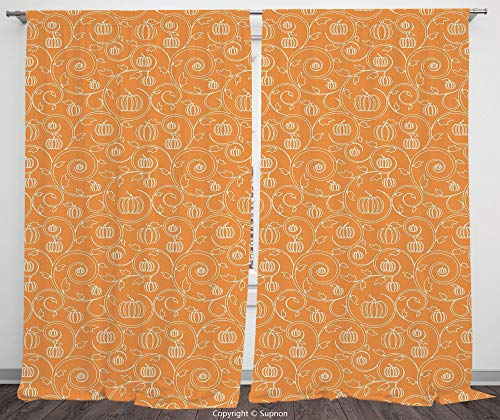 Rod Pocket Curtain Panel Polyester Translucent Curtains for Bedroom Living Room Dorm Kitchen Cafe/2 Curtain Panels/108 x 90 Inch/Harvest,Pattern with Pumpkin Leaves and Swirls on Orange Backdrop Hallo -