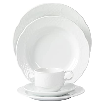 Tabletops Unlimited, Inc. Mitterteich Porcelain Flora Scalloped Embossed  White Porcelain Dinnerware (20