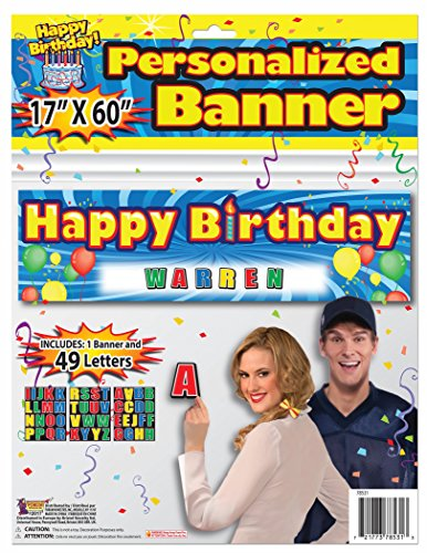 Forum Novelties Personalized Happy Birthday Banner Letters Included