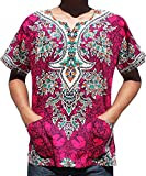 RaanPahMuang Unisex Cotton Shirt Africa Dashiki Detailed Art Vibrant Colors Plus Size, XXXXXXX-Large, Ruby Pink
