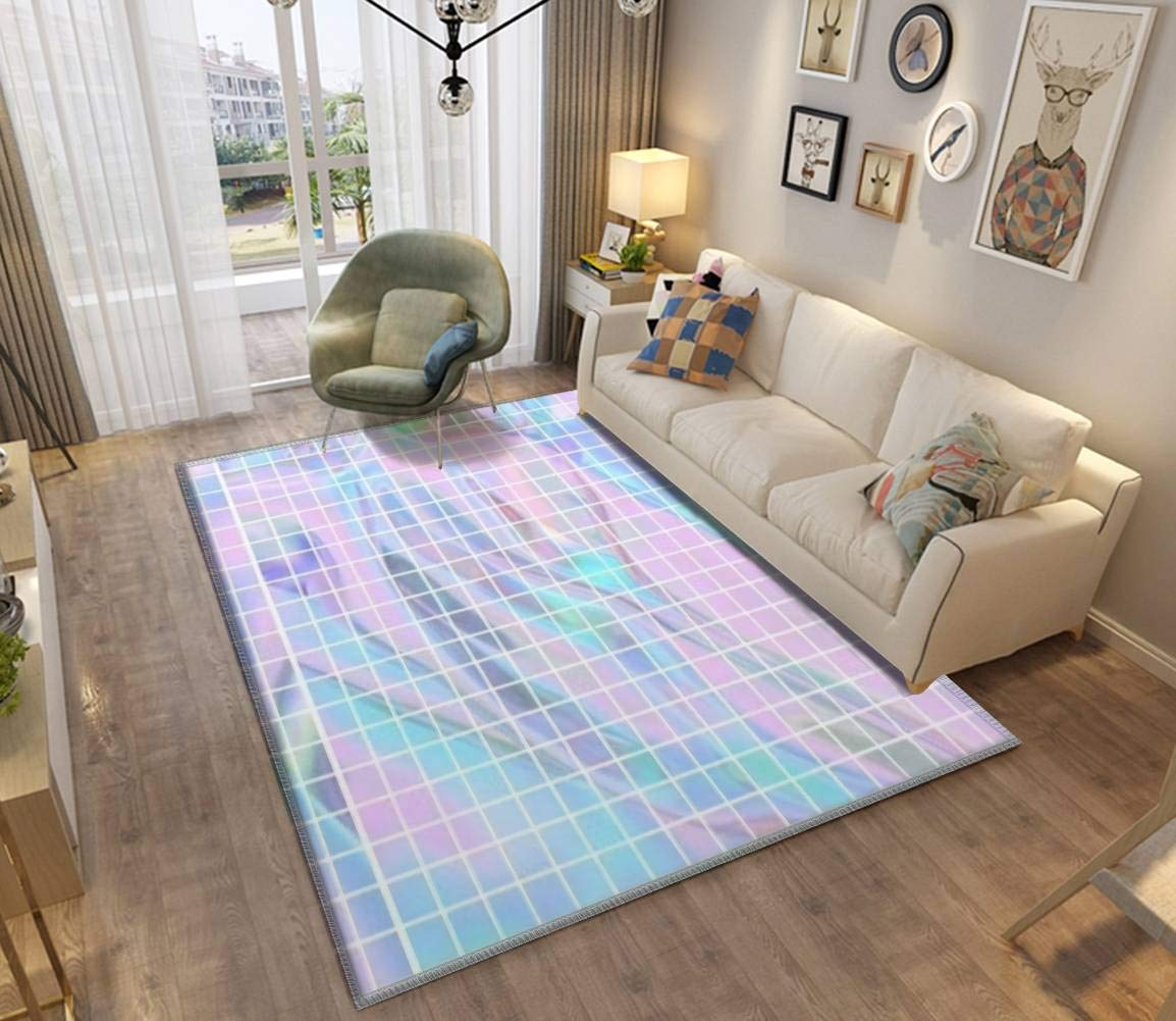 Holographic Grid Area Rugs Non-Slip Floor Mat Doormats Home Runner Rug Carpet for Bedroom Indoor Outdoor Kids Play Mat Nursery Throw Rugs Yoga Mat by ZOANIML