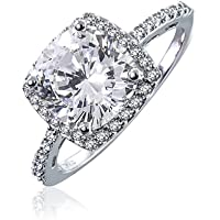 3CT Square Cushion Cut AAA CZ Cubic Zirconia Halo Statement Engagement Ring Thin Pave Band 925 Sterling Silver