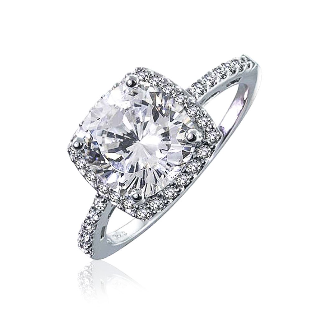 Bling Jewelry Sterling Silver 2.9 ct Round Brilliant CZ Antique Style Engagement Ring - Size 6
