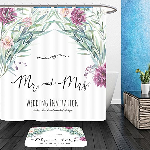 Vanfan Bathroom 2Suits 1 Shower Curtains & 1 Floor Mats watercolor wedding invitation with modern calligraphy words hand painted floral background with 358088888 From Bath (Modern Family Halloween Trailer)
