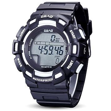 WENY Reloj Digital único de los Hombres Reloj de Pulsera Creativo Reloj Elegante Reloj Militar Vestido Reloj de Moda Reloj Deportivo (Color : Blanco): ...