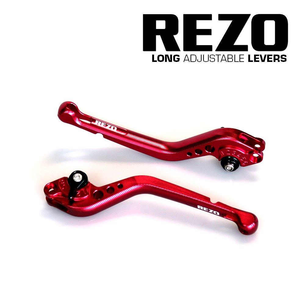 REZO V2 Long Rosso Regolabile CNC Motociclo Levers per Honda CB 1000 R 2008-2016, Honda CBR 1000 RR Fireblade 2004-2007 MPW REZ-SETV2-1-RED-0021