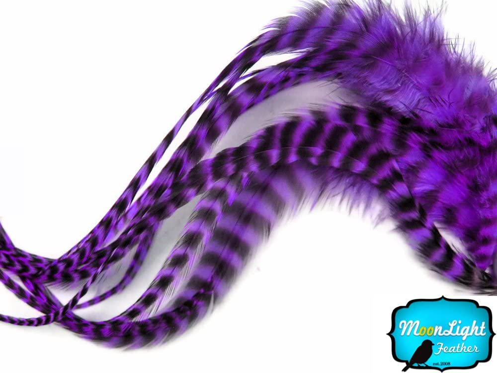 """PURPLE VIOLET ROOSTER SADDLE CRAFT HAIR FEATHER 5/""""-7/""""L 100"""