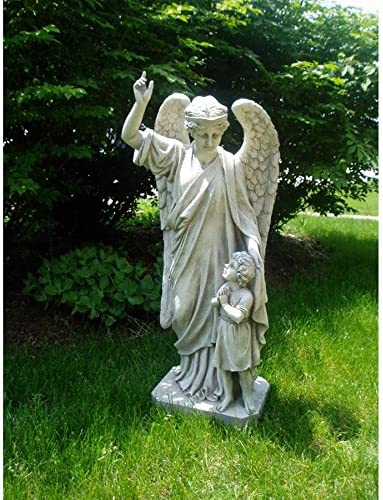 Design Toscano EU33861 Guardian Angel Child's Prayer Garden Statue,antique stone