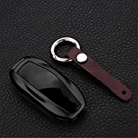 [M.JVisun] Key Fob Cover For Tesla Key Fob Remote Key, Fits Tesla Model S Smart Keyless Start Stop Engine Car Key, Aircraft Aluminum Key Fob Protection Case, Key Cover For Tesla Model S - Black