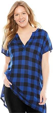 Woman Within Women's Plus Size Notch Neck Tunic Dark Sapphire Buffalo Plaid,M