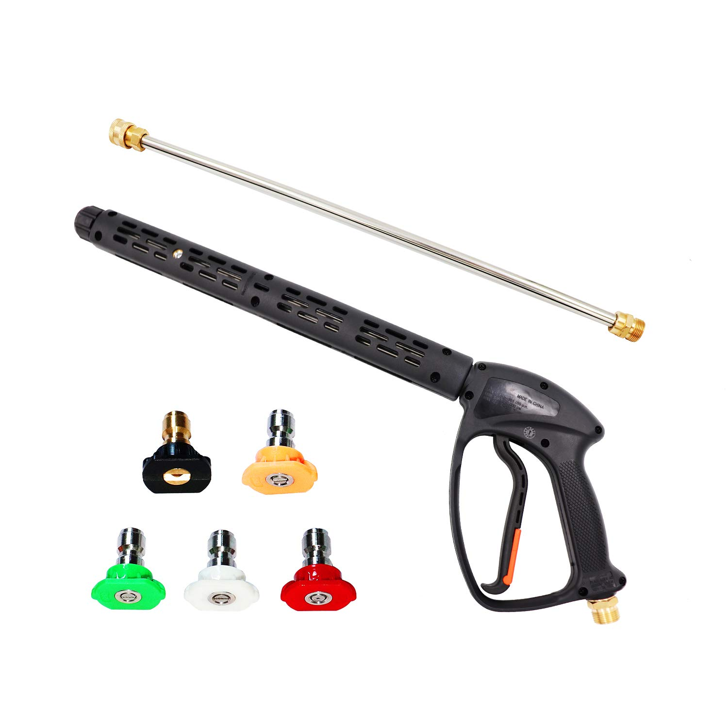 EDOU 5000 PSI High Pressure Power Washer Gun Power Spray Gun, 19 Inch Extension Replacement Wand Lance, 5 Quick Connect Spray Nozzles Tips