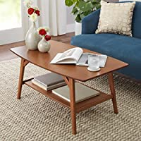 Sleek Style Solid Wood Mid Century Modern Rectangle Coffee Table