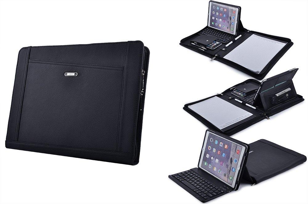 iPad Keyboard Portfolio, Executive Leather Padfolio Case with Bluetooth Keyboard for iPad Air /Air 2,Black
