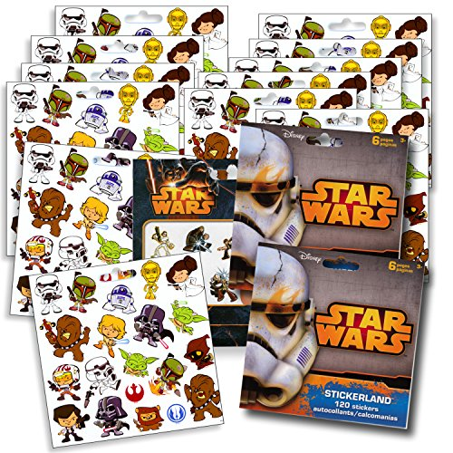 Star Wars Stickers Party Favors ~ Set of 2 Sticker Packs ~ 12 Sheets over 240 Stickers plus Star Wars Tattoos -Darth Vader, Storm troopers, Chewbacca ()