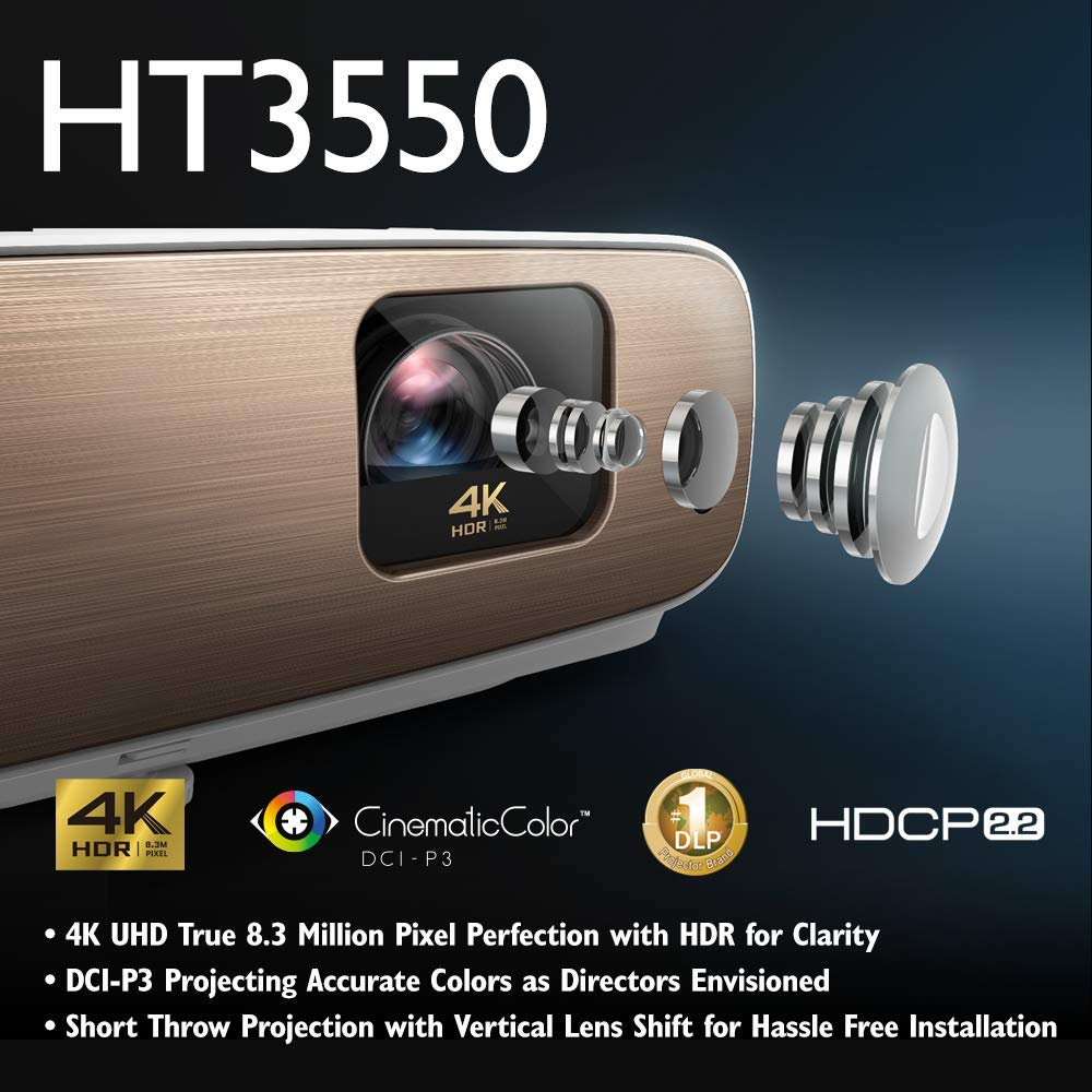 BenQ HT3550 4K Home Theater Projector with HDR10 and HLG | 95% DCI-P3 and  100% Rec 709 for Accurate Colors | Dynamic Iris for Enhanced Darker  Contrast