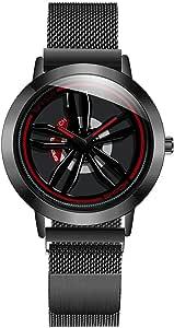 Men's Luxury Design Classic Minimalist Time to Run Hub Shaped Quartz Mesh with Men's Quartz Wrist Watch