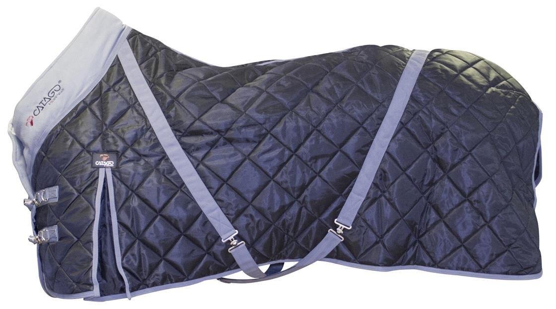 CATAGO Stalldecke 100 g Füllung schwarz mit grau 420D Gehfalte Kreuzgurte