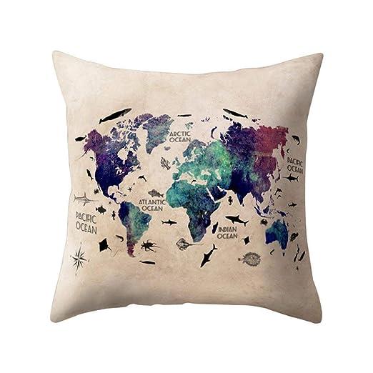 Funda de cojín Dragonaur, diseño cuadrado de 45,72 cm con estampado de mapa del mundo, decoración para el hogar, Piel de melocotón, 10#, Medium