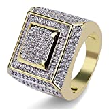 SHINY.U 14K Gold Plated Hip Hop Full Micro Pave Cubic Zircon Square Punk Ring (9)