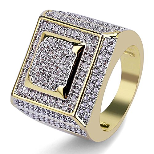 SHINY.U 14K Gold Plated Hip Hop Full Micro Pave Cubic Zircon Square Punk Ring (9) by SHINY.U