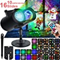 Halloween Christmas LED Projector Lights, WOSTOO 2-in-1 Decoration Water Wave Projector 16 Slides Patterns 10 Wave Colors with Remote Control, Waterproof Outdoor/Indoor Landscape, Party, Garden