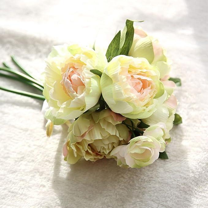 SamMoSon 2019 Flores Artificiales Decoración Rosas Plásticas De Seda Nupcial De La Boda,Flores Artificiales Falsas Ramo De Peonía Floral Ramo De La Boda ...