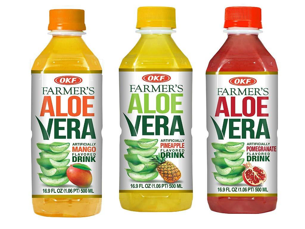OKF Farmer's Aloe Vera Drink, Mango, Pineapple and Pomegranate, 16.9 Fluid Ounce (Pack of 20 each)