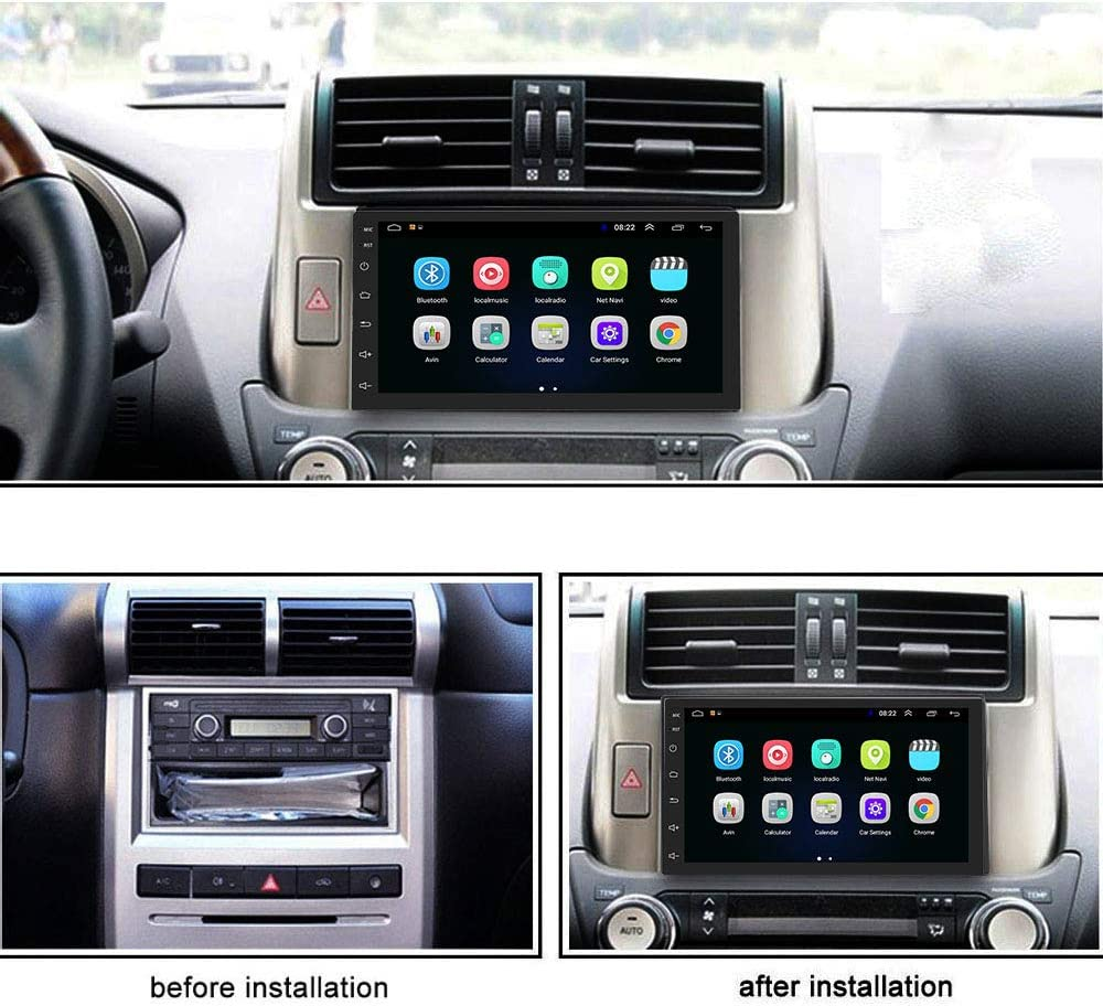 Podofo Double Din Car Radio GPS Navigation Android Car Stereo 7 Inch HD Touch Screen Car MP5 Player Dual USB AUX in Support Bluetooth WiFi GPS FM Radio Android//iOS Mirror Link with Rear Camera
