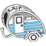 im Geschenkkarton FizzyButton Gifts Wohnwagen-Tropfenohrringe versilberte Ohrhaken mit Wohnwagen f/örmigen Reize Hing mit rosa wei/ßen und silbernen Ton Emaille Detaillierung