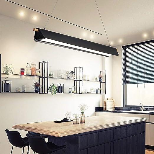 WANG-LIGHT Moderna LáMpara Altura Ajustable Cocina Sala de Estar Dormitorio Estudio LáMpara de Techo, Luz Blanca LáMpara Colgante de LED de Madera para Oficina, Mesa de Comedor,Negro,95CM/37.4in: Amazon.es: Hogar
