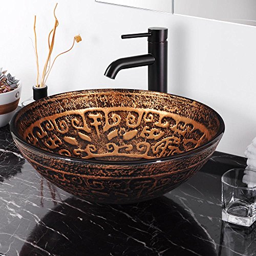 Aquaterior Tempered Glass Round Vessel Sink Antique Totem Pattern Above Counter Bathroom Lavatory Vanity Bowl Basin