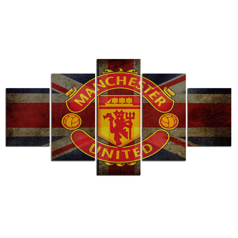 Manchester United Framed Wall Art Decor Modern Flag Art Paintings 5 Piece Canvas Home Decoration Soccer Wall Picture Home Artwork Football Prints Poster(60''Wx32''H)
