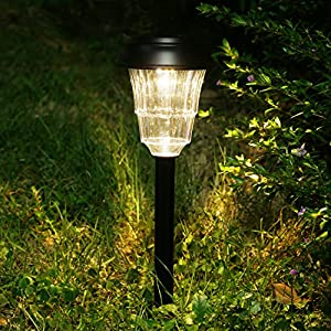 Solar Pathway Lights Outdoor - Voona 8 Pack Stainless Steel Warm White LED Light for Outdoor Garden Pathway Landscape (Matt Black)