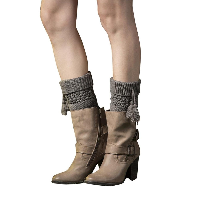 Winter Women's Leg Warmer Knit Boot Socks,Winzik short Tassels topper Socks for girls