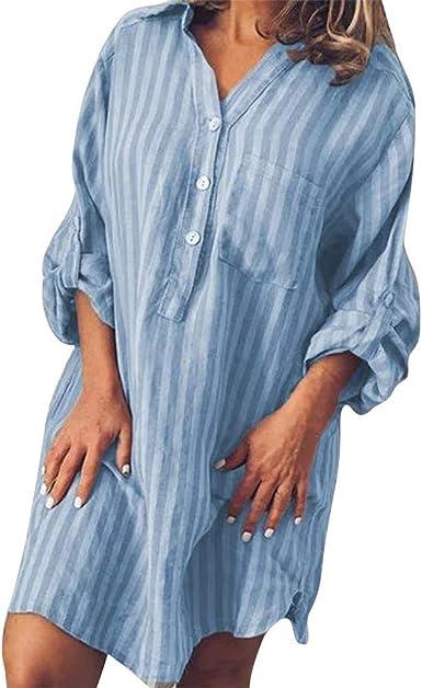 Vestido a Rayas de Mujer, Vestido de Manga Corta con Estampado de Rayas de botón Casual de Verano para Mujer con Cuello en v Vestidos Mujer Casual Vestidos playeros Mujer: Amazon.es: Ropa